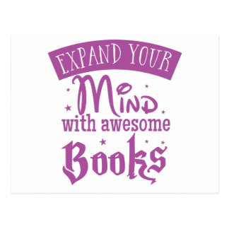 expand you mind with awesome books postcard