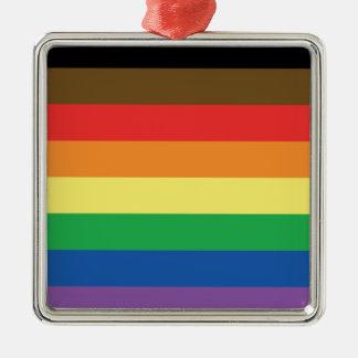 Expanded Gay Pride Rainbow Flag Customizable LGBT Metal Ornament