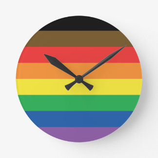 Expanded Gay Pride Rainbow Flag Customizable LGBT Round Clock
