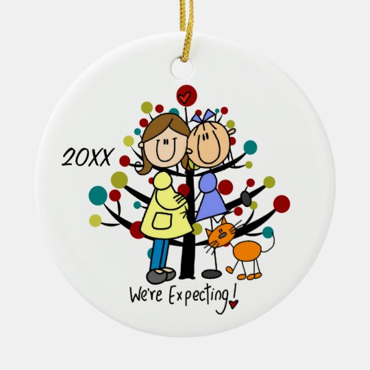 Expectant Couple Two Moms Cat Holiday Ornament