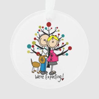 Expectant Couple w. Dog Holiday Acrylic Ornament