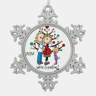 Expectant Couple With Girl  Snowflake Ornament
