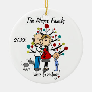 Expectant Couple with Toddler Boy/Cat Ornament