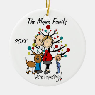 Expectant Couple with Toddler Boy/Dog Ornament