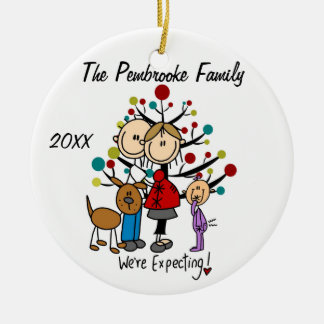 Expectant Couple with Toddler Girl/Dog Ornament