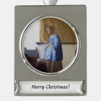 Expectant Mother Reading a Letter Silver Plated Banner Ornament