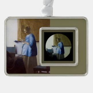 Expectant Mother Reading a Letter Silver Plated Framed Ornament