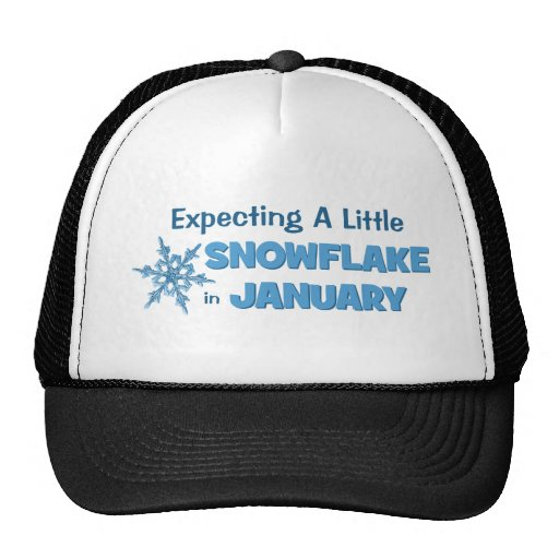 Expecting A Little Snowflake in January Maternity Trucker Hats