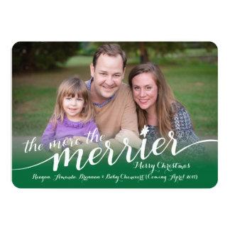 """Expecting Christmas Card with Photos 5"""" X 7"""" Invitation Card"""
