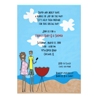 Expecting Couple Grilling Invitations Brunettes