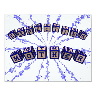 Expecting mother toy blocks in blue invitation