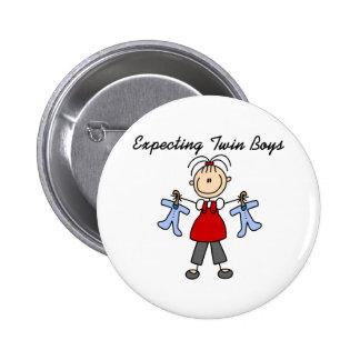 Expecting Twin Boys  6 Cm Round Badge