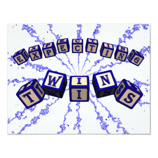 Expecting Twins toy blocks in blue. Personalized Invitation