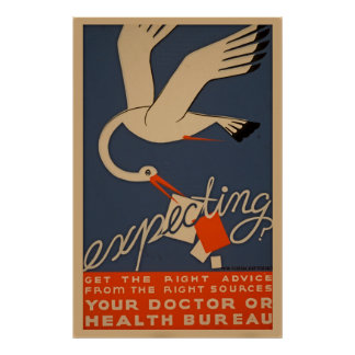 Expecting WPA Vintage Health Poster