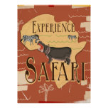 Experience African Safari Vintage Travel Poster