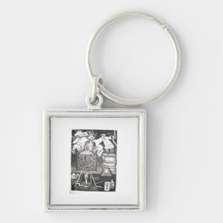 Experiment Silver-Colored Square Key Ring