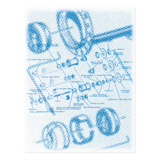Exploded Hub Diagram (blue) Postcard