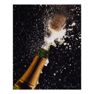 Exploding champagne bottle posters