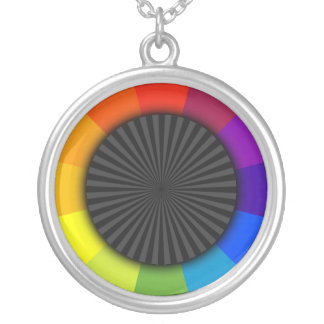 exploding color wheel silver plated necklace