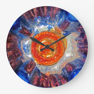 Exploding Cosmos Art Glass - Van Gogh Orange Sun Large Clock