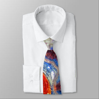 Exploding Cosmos Art Glass - Van Gogh Orange Sun Tie