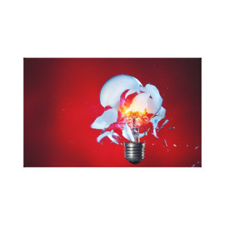 Exploding Light bulb Stretched Canvas Print