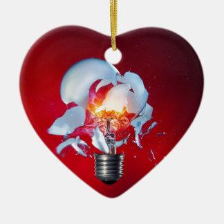Exploding Lightbulb Ceramic Heart Decoration