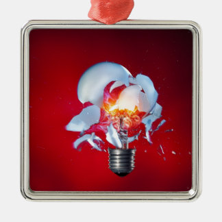 Exploding Lightbulb Silver-Colored Square Decoration