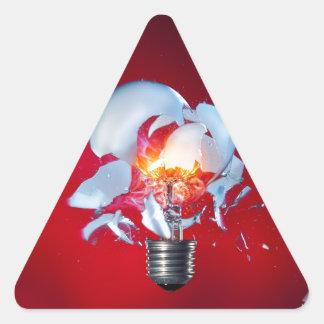 Exploding Lightbulb Triangle Sticker