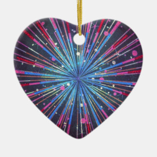 Exploding Supernova Ceramic Heart Decoration