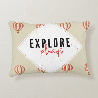 Explore always hot air balloon throw pillow