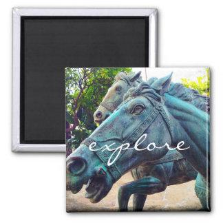 """Explore"" Asian turquoise blue horse statue photo Magnet"