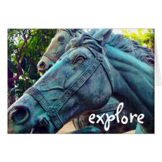 """Explore"" blue metal horse photo blank inside card"