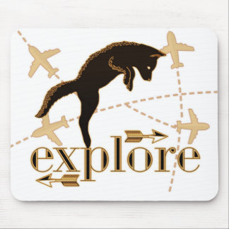 Explore Brown Pouncing Fox Adventure Theme Mouse Pad
