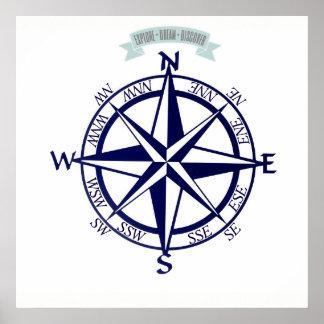 Explore-Dream-Discover Compass Print
