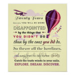Explore. Dream. Discover - Great Travel Quotes Poster