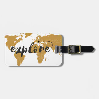 Explore Gold Luggage Tag