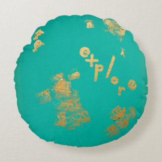 Explore in Aqua and Gold Round Cushion