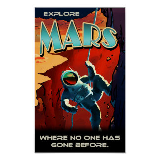 Explore Mars - Custom NASA Retro Travel Poster