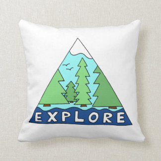 Explore Nature Outdoors Travel City Cabin Decor Throw Pillow