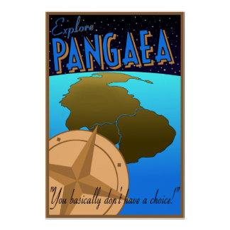 """Explore Pangaea"" retro travel poster"