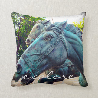 """Explore"" quote Asian turquoise horse statue photo Cushion"