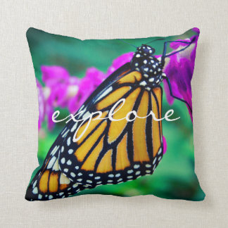 """Explore"" Quote Orange Monarch Butterfly Photo Cushion"