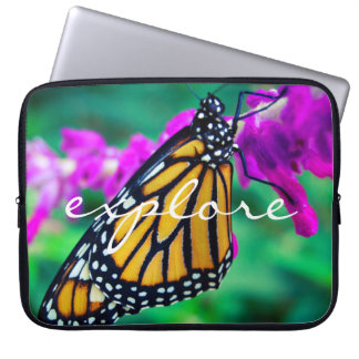 """Explore"" Quote Orange Monarch Butterfly Photo Laptop Sleeve"