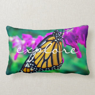 """Explore"" Quote Orange Monarch Butterfly Photo Lumbar Cushion"