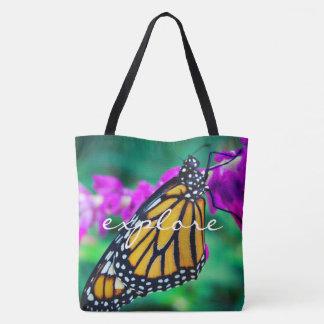 """Explore"" quote orange monarch butterfly photo Tote Bag"