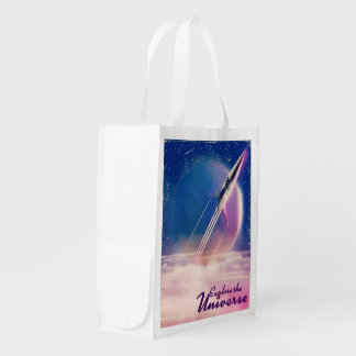 Explore the Universe Vintage space poster Reusable Grocery Bag