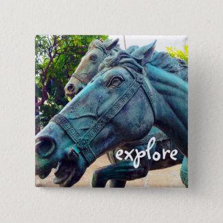"""""""Explore"""" turquoise blue horse statue photo button"""