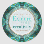 Explore Your Creativity Teal Fractals Sticker