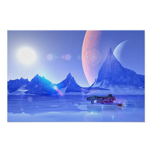 Exploring an Ice Planet Sci-Fi Art Poster